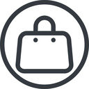 handbag line, normal, circle, shopping, cart, market, hand, handbag, bag, bags free icon 128x128 128x128px