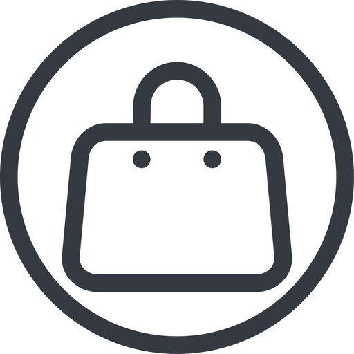 handbag line, normal, circle, shopping, cart, market, hand, handbag, bag, bags free icon 512x512 512x512px