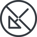 arrow-corner line, down, normal, circle, arrow, prohibited, corner, arrow-corner free icon 128x128 128x128px
