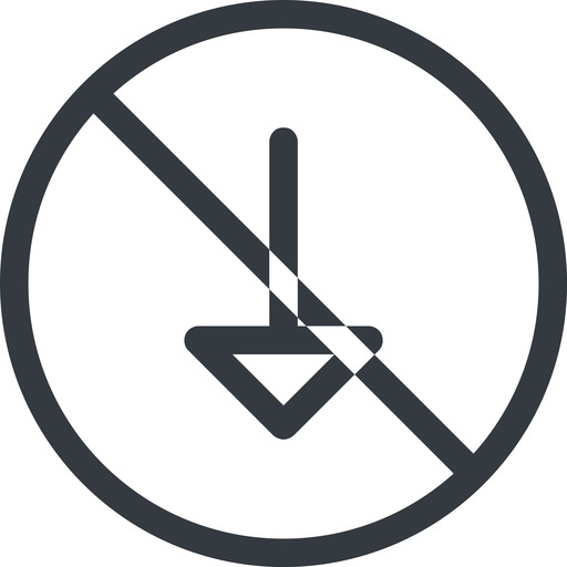 arrow line, down, normal, circle, arrow, prohibited free icon 512x512 512x512px