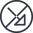 arrow-corner line, right, normal, circle, arrow, prohibited, corner, arrow-corner free icon 128x128 128x128px