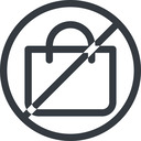 shopping-bag line, normal, circle, horizontal, mirror, prohibited, shopping, cart, market, handbag, bag, bags, shopping-bag free icon 128x128 128x128px