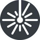 laser down, normal, solid, circle, laser, light, cutting, engrave free icon 128x128 128x128px