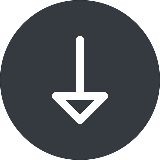 arrow down, normal, solid, circle, arrow free icon 512x512 512x512px