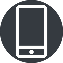 smartphone up, normal, solid, circle, iphone, phone, android, gsm, smartphone, cell free icon 256x256 256x256px