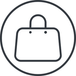 handbag-thin thin, line, circle, shopping, cart, market, hand, handbag, bag, bags, handbag-thin free icon 256x256 256x256px