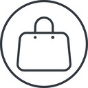 handbag-thin thin, line, circle, shopping, cart, market, hand, handbag, bag, bags, handbag-thin free icon 128x128 128x128px
