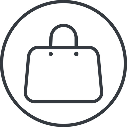 handbag-thin thin, line, circle, shopping, cart, market, hand, handbag, bag, bags, handbag-thin free icon 512x512 512x512px