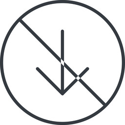 arrow-simple-thin thin, line, down, circle, arrow, direction, prohibited, arrow-simple-thin free icon 256x256 256x256px