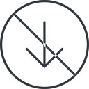 arrow-simple-thin thin, line, down, circle, arrow, direction, prohibited, arrow-simple-thin free icon 128x128 128x128px