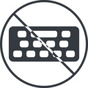 keyboard-solid thin, line, down, circle, prohibited, desktop, keyboard, keypad, typing, keyboard-solid free icon 128x128 128x128px