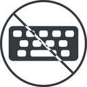 keyboard-solid thin, line, up, circle, prohibited, desktop, keyboard, keypad, typing, keyboard-solid free icon 128x128 128x128px