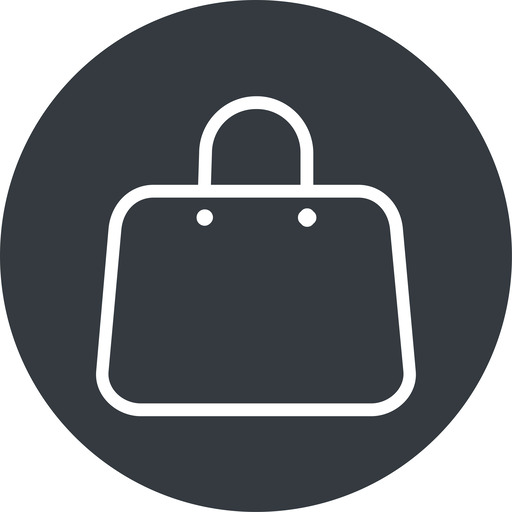 handbag-thin thin, solid, circle, shopping, cart, market, hand, handbag, bag, bags, handbag-thin free icon 512x512 512x512px