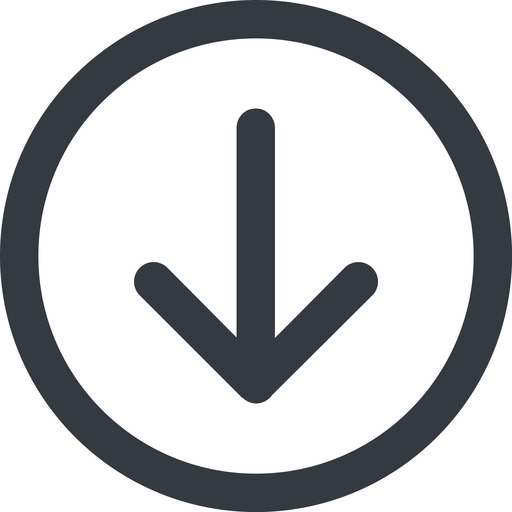 arrow-simple-wide line, down, circle, arrow, direction, arrow-simple-wide free icon 512x512 512x512px