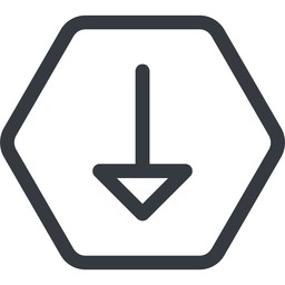 arrow line, down, normal, hexagon, arrow free icon 256x256 256x256px