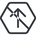 arrow-simple line, up, hexagon, arrow, direction, prohibited, arrow-simple free icon 128x128 128x128px