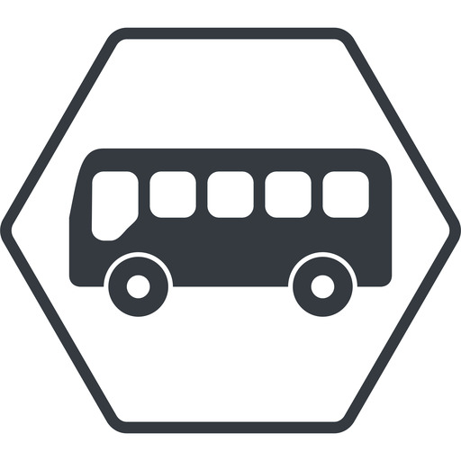 bus-side thin, line, wide, hexagon, horizontal, mirror, car, vehicle, transport, bus, side, bus-side free icon 512x512 512x512px