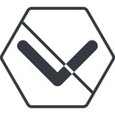 chevron-solid thin, line, down, hexagon, arrow, direction, prohibited, chevron, chevron-solid free icon 128x128 128x128px