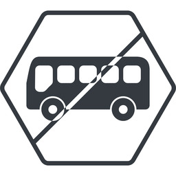 bus-side thin, line, wide, hexagon, horizontal, mirror, car, vehicle, transport, prohibited, bus, side, bus-side free icon 256x256 256x256px