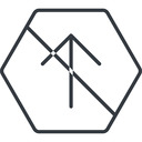 arrow-simple-thin thin, line, up, hexagon, arrow, direction, prohibited, arrow-simple-thin free icon 128x128 128x128px
