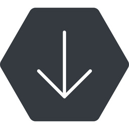 arrow-simple-thin thin, down, solid, hexagon, arrow, direction, arrow-simple-thin free icon 256x256 256x256px