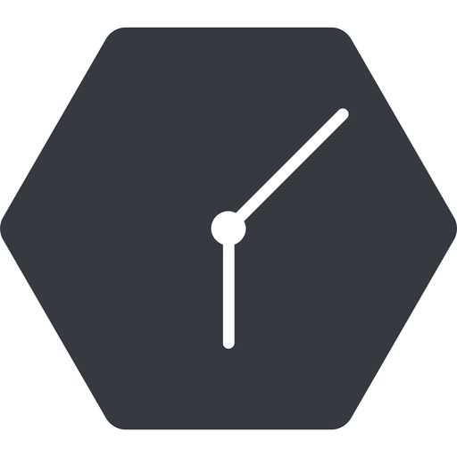 clock-thin thin, down, solid, hexagon, clock, time, meeting, hour, minute, hours, minutes, clock-thin free icon 512x512 512x512px