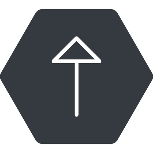 arrow-thin thin, up, solid, hexagon, arrow, arrow-thin free icon 512x512 512x512px