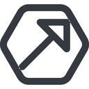 arrow-corner-wide line, up, wide, hexagon, arrow, corner, arrow-corner-wide free icon 128x128 128x128px