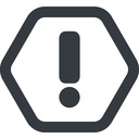 exclamation-mark line, wide, hexagon, mark, warning, exclamation, straight, info, exclamation-mark free icon 128x128 128x128px