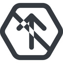 arrow-simple-wide line, up, hexagon, arrow, direction, prohibited, arrow-simple-wide free icon 128x128 128x128px