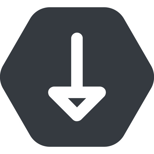 arrow-wide down, wide, solid, hexagon, arrow, arrow-wide free icon 512x512 512x512px