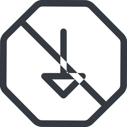 arrow line, down, normal, octagon, arrow, prohibited free icon 256x256 256x256px