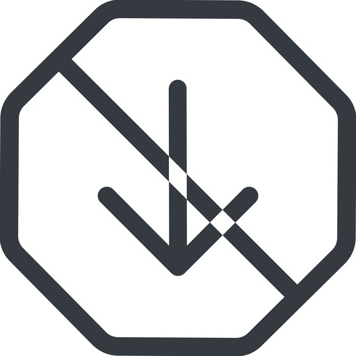 arrow-simple line, down, octagon, arrow, direction, prohibited, arrow-simple free icon 512x512 512x512px