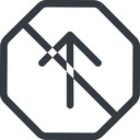 arrow-simple line, up, octagon, arrow, direction, prohibited, arrow-simple free icon 128x128 128x128px