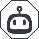 robot-rounded thin, line, up, octagon, rounded, robot, robotics, face, robot-rounded free icon 128x128 128x128px