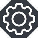 setting-thin thin, solid, octagon, setting, config, gear, wheel, settings, cog, setting-thin free icon 128x128 128x128px