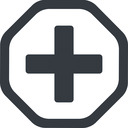 plus-solid line, octagon, plus, add, new, medical, plus-solid, create, addition, +, more, medic free icon 128x128 128x128px