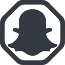 snapshat-solid line, wide, solid, octagon, logo, brand, social, network, chat, snapshat-solid, snapchat free icon 128x128 128x128px