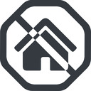 home-small-solid line, wide, solid, octagon, small, home, prohibited, home-small-solid free icon 128x128 128x128px