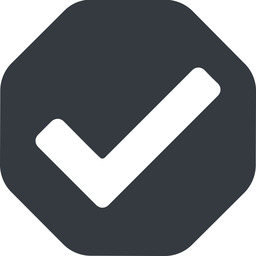 check wide, solid, octagon, check, ok, valid, checked, done, confirm, confirmed, success, yes free icon 256x256 256x256px