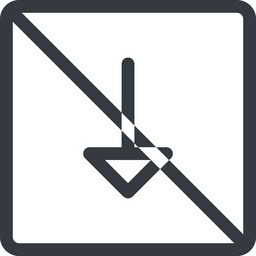 arrow line, down, normal, square, arrow, prohibited free icon 256x256 256x256px