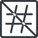 hashtag line, normal, square, social, prohibited, hashtag free icon 128x128 128x128px