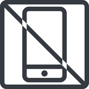 smartphone line, up, normal, square, prohibited, iphone, phone, android, gsm, smartphone, cell free icon 128x128 128x128px