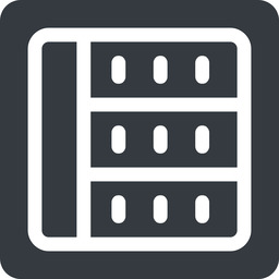spreadsheet left, normal, solid, square, cell, table, data, grid, row, columns, spreadsheet free icon 256x256 256x256px