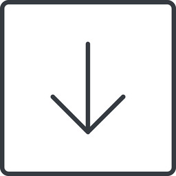 arrow-simple-thin thin, line, down, square, arrow, direction, arrow-simple-thin free icon 256x256 256x256px