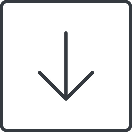 arrow-simple-thin thin, line, down, square, arrow, direction, arrow-simple-thin free icon 512x512 512x512px