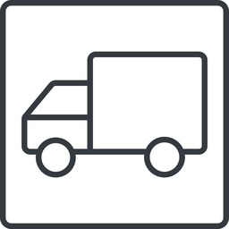 truck-thin thin, line, solid, square, horizontal, mirror, truck, delivery, van, lorry, truck-thin free icon 256x256 256x256px
