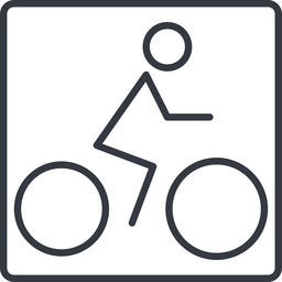 bicycle-thin thin, line, square, vehicle, riding, bicycle, bike, cycle, cycling, bicycle-thin free icon 256x256 256x256px