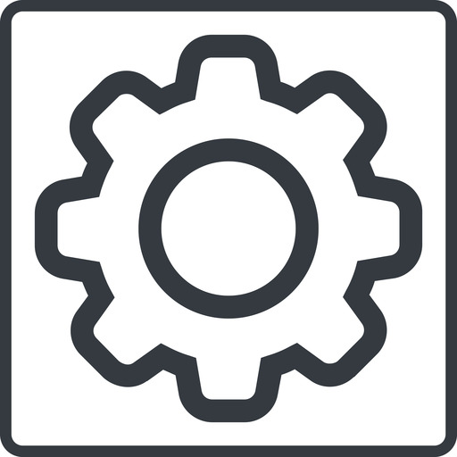 setting-thin thin, line, square, setting, config, gear, wheel, settings, cog, setting-thin free icon 512x512 512x512px