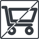 shopping-cart-wide thin, line, square, horizontal, mirror, prohibited, shopping, cart, shop, buy, trolley, shopping-cart-wide free icon 128x128 128x128px